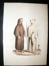Spain 1809 Folio Hand Col Aquatint. Franciscans
